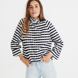 Madewell Long Sleeve Mock Meck Top Velvet Stripe